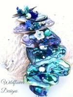 Embellished Paua Bracelet Blues and Greens