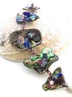 Embellished Paua Bracelet Blues and Pinks