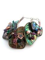 Embellished Paua Bracelet Amethysts, Pinks, Teals