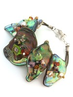 Embellished Paua Bracelet Browns, Coppers and Greens Bracelet