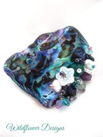 Embellished Paua Brooch - Purples and Greens