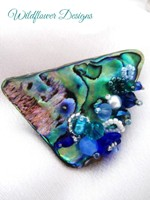Embellished Paua Brooch - Blues and Greens