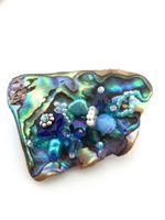 Embellished Paua Brooch - Blues and Teals