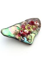 Embellished Paua Brooch - Cerise and Peridot