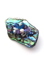 Embellished Paua Brooch - Blues and Purples