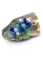 Embellished Paua Brooch - Blues