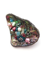 Embellished Paua Brooch - Teals and Orangey Pinks