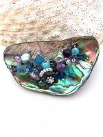 Embellished Paua Brooch - Purples and Aquas