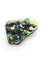 Embellished Paua Brooch - Violet Purple and Lime Green