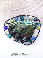 Embellished Paua Brooch Blue and Green