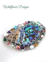 Embellished Paua Brooch - Pinks, Greens, Purples