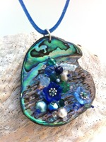 Embelllished Paua Pendant - Blues and Greens on blue suedette lace cord
