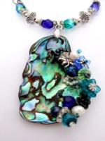 Embellished Paua Pendant Blues and Greens