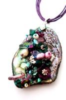 Embellished Paua Pendant Amethyst and Emerald