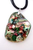 Embellished Paua Pendant Padparasha and Emerald