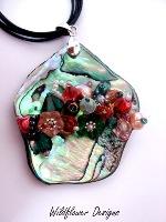 Embellished Paua Pendant Oranges and Emeralds