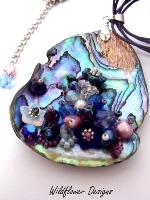 Embellished Paua Pendant Blue and Purple