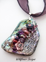 Embelllished Paua Pendant  Purples and Pinks