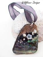 Embelllished Paua Pendant Blacks and Greys