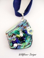 Reserved for customer - Embelllished Paua Pendant  Blues and Greens