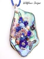 Embelllished Paua Pendant  Royal Blue and Pink
