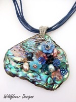 Embelllished Paua Pendant Pale Blues and Pinks