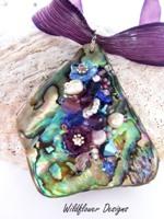 Embelllished Paua Pendant Purples and Mid Blues