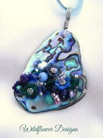 Embelllished Paua Pendant - Purple/Green/Blues
