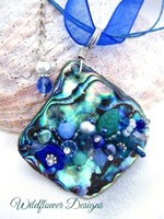 Embelllished Paua Pendant - Blues/Teals/Greens