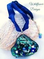 Embelllished Paua Pendant - Blue/Green