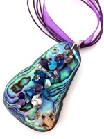 Embelllished Paua Pendant - Purple/Aqua