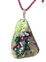 Embelllished Paua Pendant - Hot Pinks and Emerald Green on pink braided waxed cord