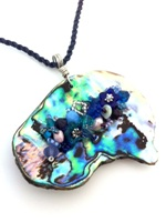 Embelllished Paua Pendant - Blues/Purple/Teal on blue braided waxed cord