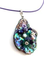 Embelllished Paua Pendant - Purple and Greens on purple leather cord