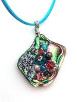Embelllished Paua Pendant - Padparascha and dark aqua on aqua suedette lace cord