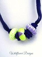 Purple/Lime on Purple Silk Fairy Ribbon