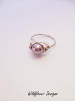 Mauve Pearl Crystal Wrap Ring