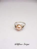Pale Peach Crystal Wrap Ring