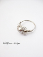 Pale Grey Pearl Wrap Ring