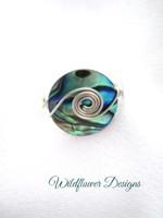 Paua 17.5mm coil w wrap ring
