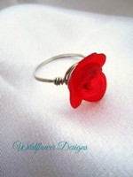 Red Flower Wrap Ring