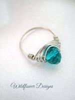 Teal Crystal Herringbone Wrap Ring