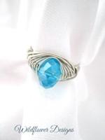 Aqua Crystal Herringbone Wrap Ring