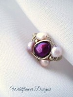 Magenta Freshwater Pearl Wrap Ring