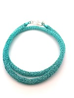 Knitted Tube Necklace Peacock Blue