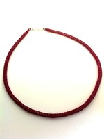 Knitted Tube Necklace Magenta