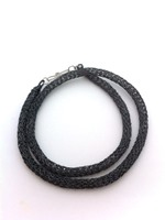 Knitted Tube Necklace Hematite