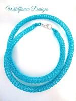 Turquoise Knit Tube Necklace