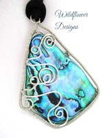 Wired Paua in Silver on cord